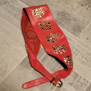 EUC VINTAGE Wide Soft Red Leather Gold Studded…
